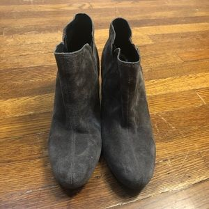 Grey Suede, Wedge, Born Ankle Boots, 10 Medium